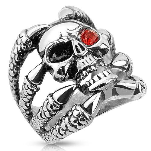 Herren Ring Edelstahl Totenkopf Ring Skull massiv Biker Schmuck Gothic Männer