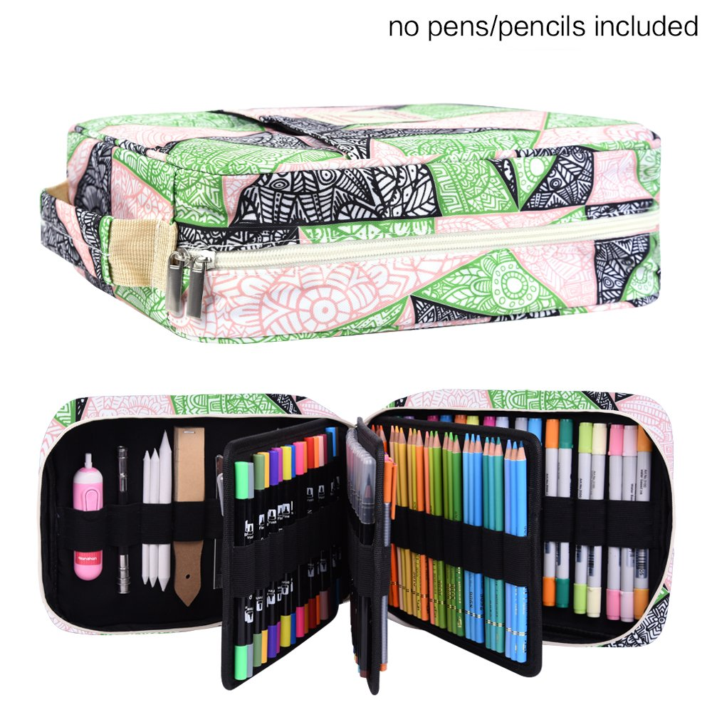 Pencil Case Holder Slot - Holds 202 Colored Pencils or 136 Gel Pens with Zipper Closure - Large Capacity Pen Organizer for Watercolor Pens & Markers | Perfect Gift for Students & Artist Mandala-GREEN