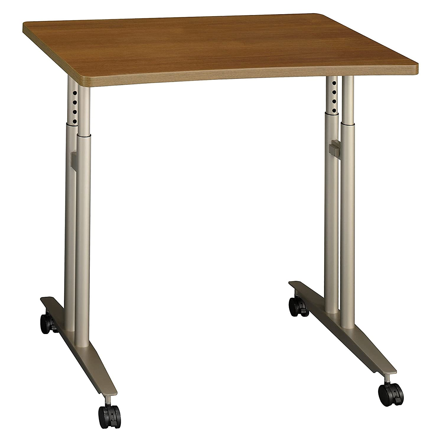 Bush Business Furniture Series C Collection 36W Adjustable Height Mobile Table in Warm Oak