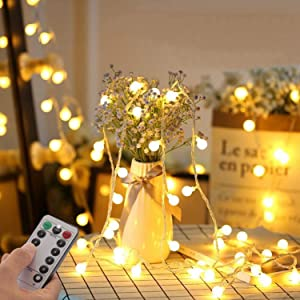 Fairy String Lights Plug in, 33 FT 100 LED Globe Ball String Lights 8 Lighting Modes with Remote Control for Bedroom Indoor Outdoor Garden, Patio, Christmas, Party, Wedding Decorations (Warm White )