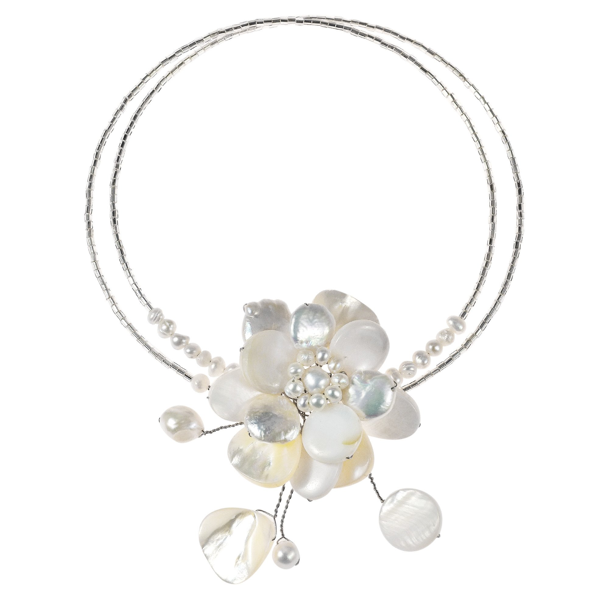 White Mother of Pearl & Cultured Freshwater Pearl Floral Attention Choker Necklace