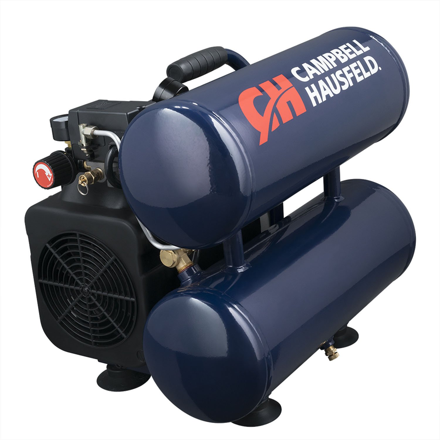 Campbell Hausfeld Air Compressor, 4-Gallon Twinstack Oil-Lubricated 3.7 CFM 1.8HP (DC040000)