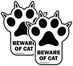 Beware of Cat 2 Pack Decal Sticker Fun Unique Paw Shaped Pet Sign Great for Cat Lovers and Gifts