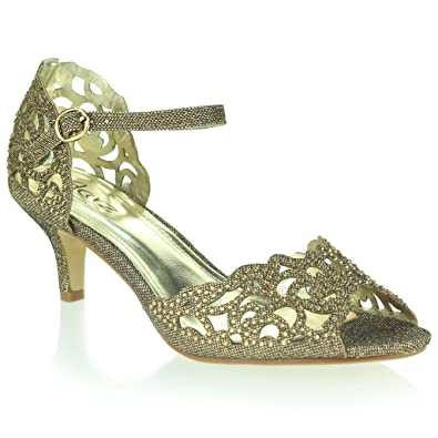 f2bd031ae10a AARZ LONDON Women Ladies Opentoe Diamante Mid Heel Evening Wedding Party  Brown Sandals Shoes Size 3
