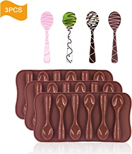 Spoon Shape Molds 3 PCS Food Grade Silicone Cake Molds Chocolate Ice Jelly Mold Party Decor Homemade Cupcake Candy Bake Ware Baking Tools by Outton