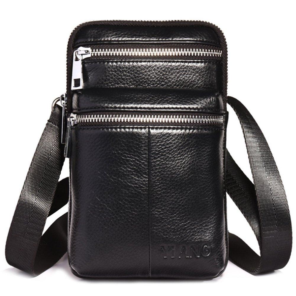 Leathario Sacoche fixée à une ceinture sac cuir en première couche à bandoulière
