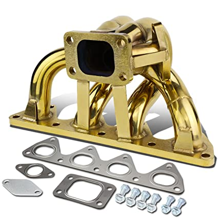 Anodized Stainless Steel 42mm T3 Bottom Mount Exhaust Turbo Manifold for Honda Prelude with H22 Engines