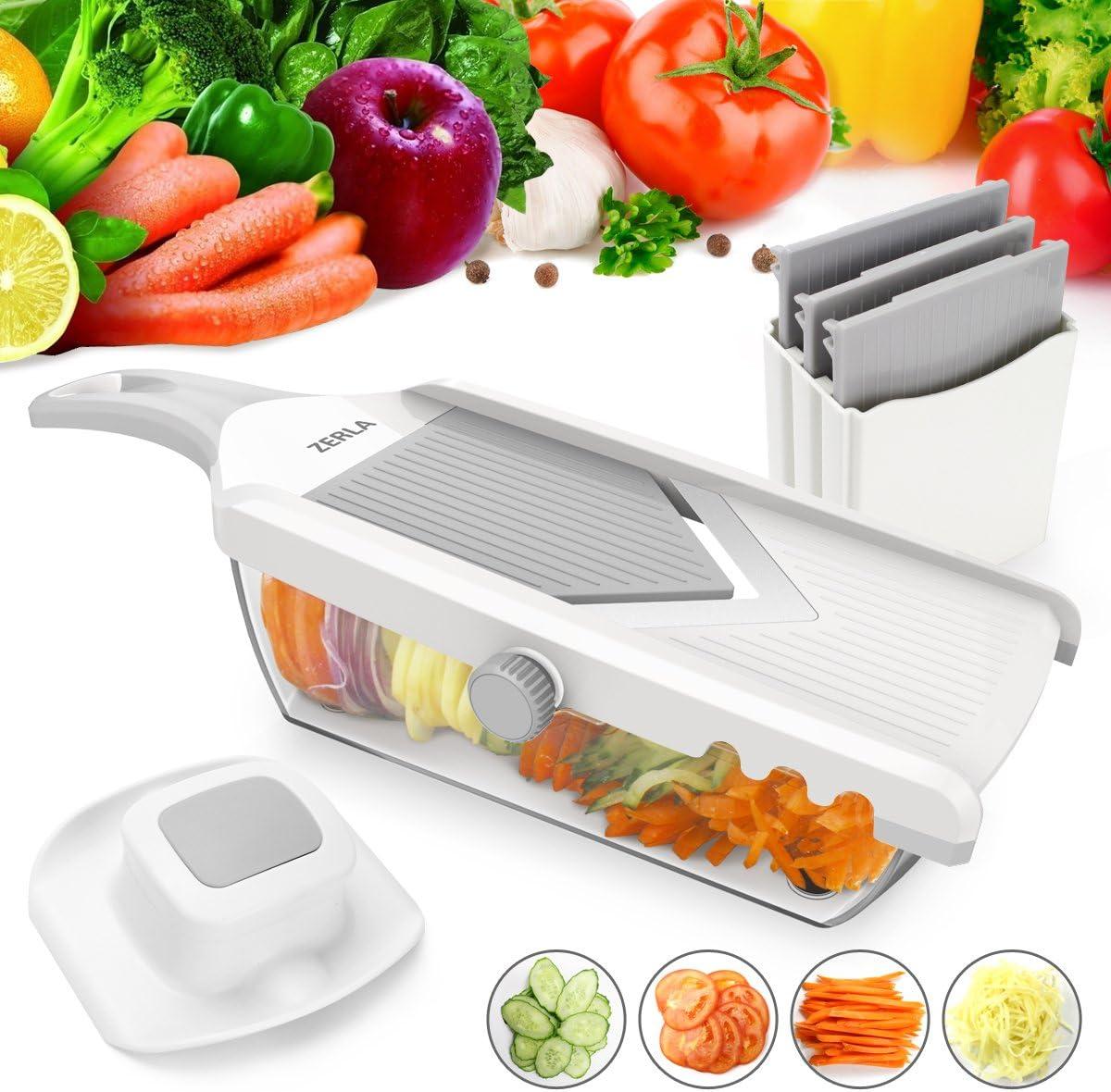 ZERLA Adjustable Mandoline Slicer, Grater & Julienne Slicer Cutter for Vegetable, Fruit, Onion, and Cheese (White)