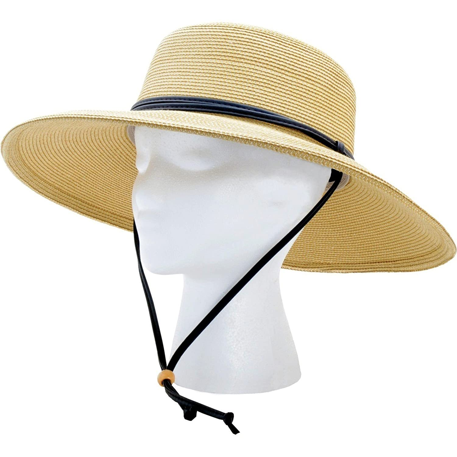 56f8f1b599d Women s Wide Brim Braided Sun Hat with Wind Lanyard - Light Brown - UPF 50+