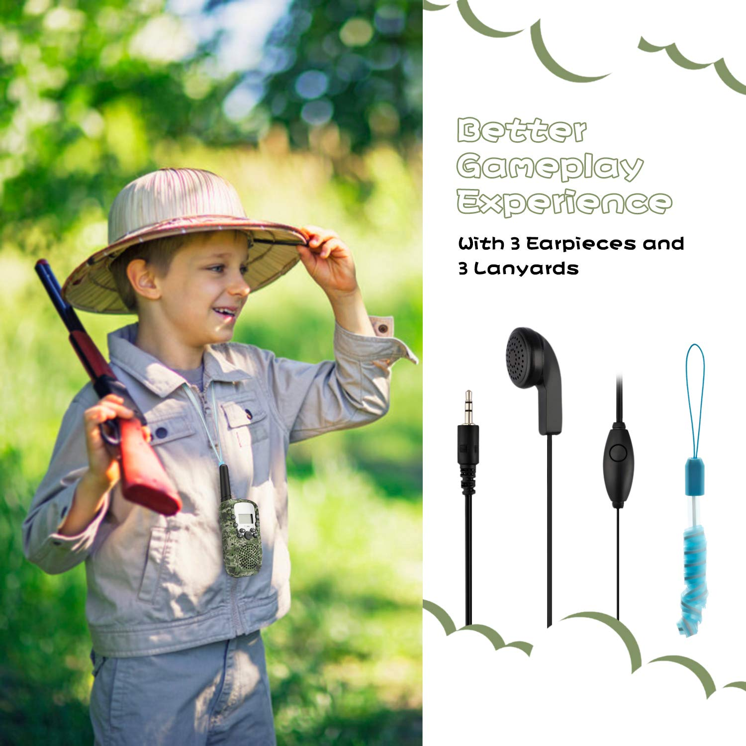 Zhenhao Walkie Talkies for Kids 3 Packs - 22 Channels Two Way Radio 3 Miles Long Range Outdoor Toys with 3 Earpieces and 3 Lanyards for Boys Girls by Zhenhao (Image #7)