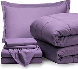 Bare Home Twin Sheet Set - 1800 Ultra-Soft Microfiber Bed Sheets (Twin, Lavender) + Comforter Set - All Season (Twin/Twin XL, Lavender)
