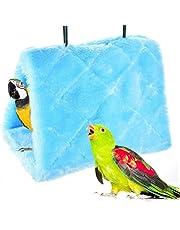 MATT SAGA Perroquet Nid d'Oiseau Animal Nid d'hiver Hiver Chaud Hamac Cabane Pendaison de Peluche Suspendu Cage pour Parrot Perruche Calopsitte Amazones Cacatoès Canari Cage Jouet (L, Bleu)