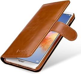 StilGut Talis Case Portafoglio, Custodia in Vera Pelle Cover per Huawei Honor 7X con Chiusura Magnetica, Cognac