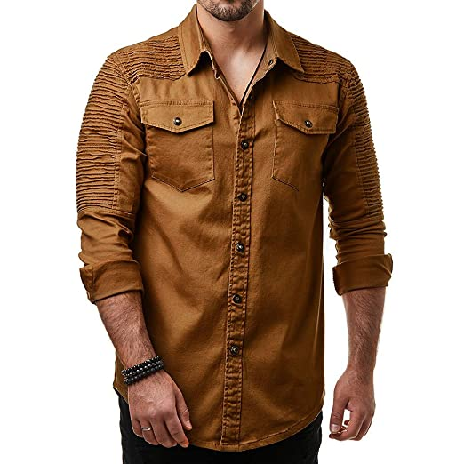 Blusa de Hombre de BaZhaHei, Camisetas Hombre de Camisa de botón de Corte Slim Casual para Hombre con Blusa de Manga Larga de Bolsillo de Manga Larga de ...