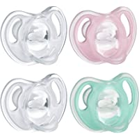 Tommee Tippee Ultra-Light Silicone Baby Pacifier, Girl - 0-6m, 4pk