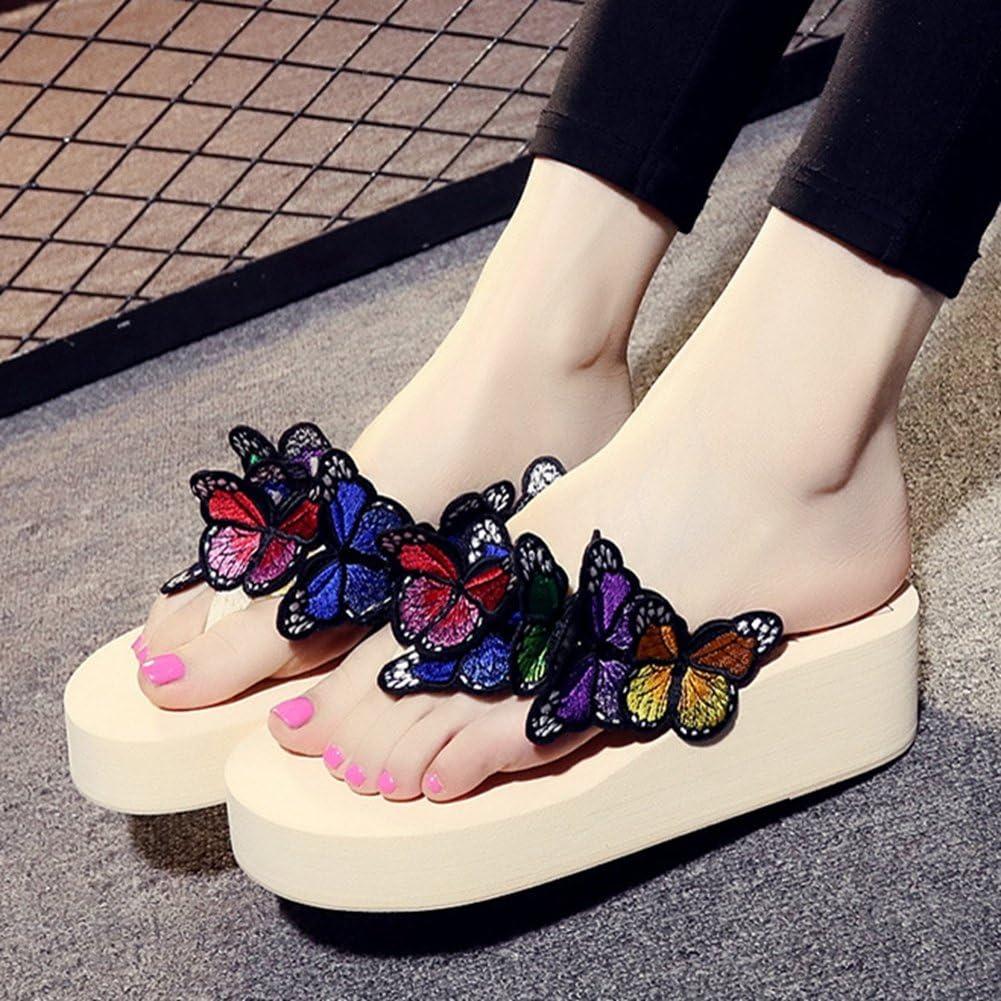 AVENBER Women Wedge Slides Sandals Thick Bottom Man-Made Pearl Non-Slip Slippers for Girls Everyday Wear