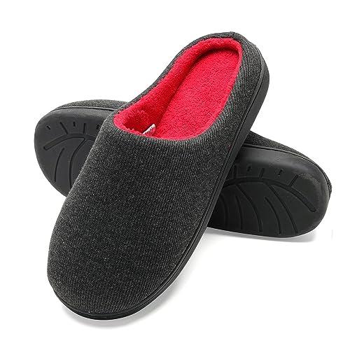 cca23c88e24 FLY HAWK Men s Memory Foam Plush House Slippers Two-Tone Slip Indoor Shoes