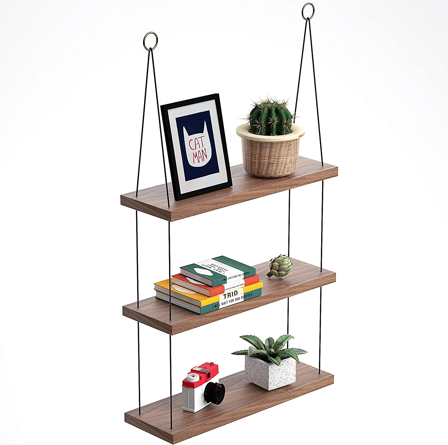 OMYSA Boho Wall Hanging Shelves 11 Tier - Lightweight, Customizable, Durable  Black Rope Floating Wood Shelf for Bedroom Living Room Bathroom Kitchen -