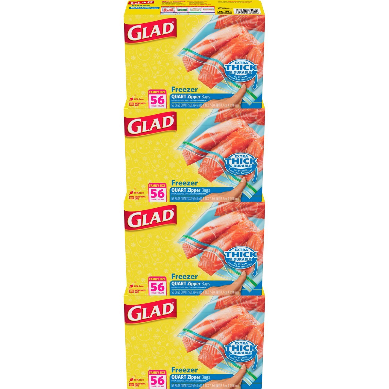 Amazon.com: Glad Food Storage Bags, Freezer Zipper Quart, 56 ...