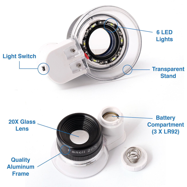Fancii 20x Fach Juwelierlupe mit LED Licht Schmucklupe Juwelier Lupe Professionell mit Aluminiumst/änder f/ür Schmuck Diamanten M/ünzen