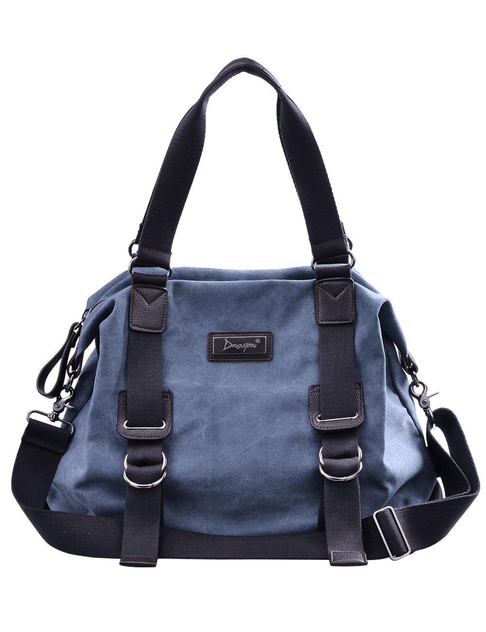 Douguyan Sacs fourre-tout pour Hommes Sac à main Voyage, Commerce, Canevas+Leather E47903 Bleu