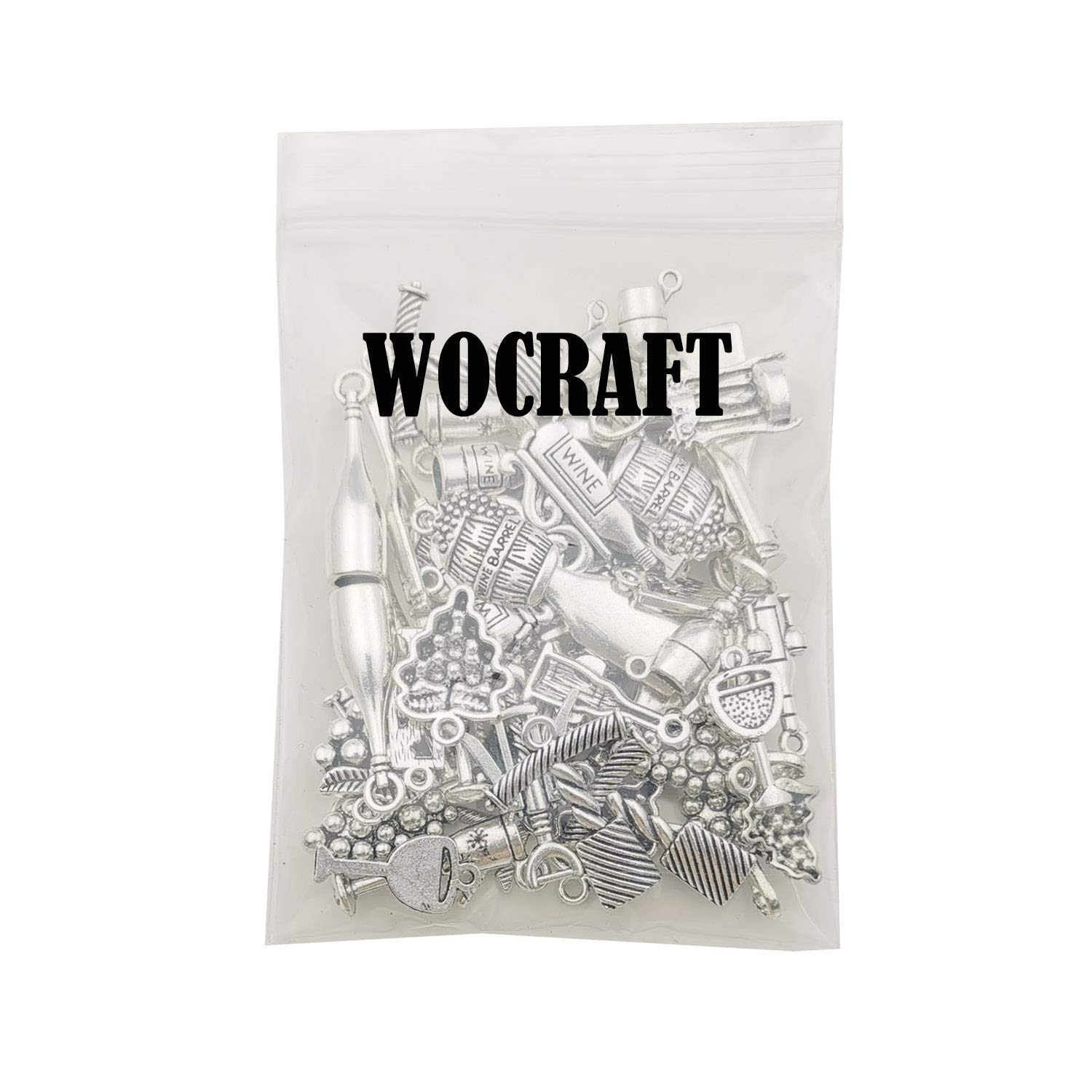 WOCRAFT 50pcs Craft Supplies Antique Silver Tasting Wine Grape Cocktail Glass Wine Opener Charms for Jewelry Making Findings Crafting Accessory for DIY Necklace Bracelet M307