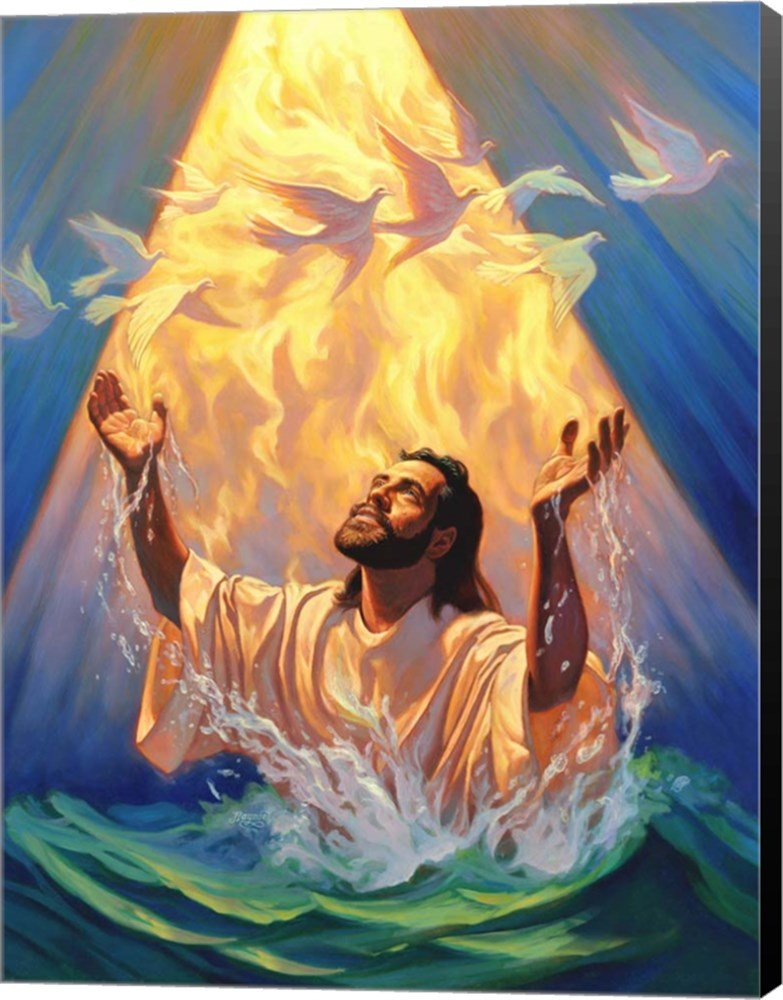 Christian Baptism Of Jesus by Jeff Haynie Canvas Art Wall Picture, Museum Wrapped with Black Sides, 21 x 28 inches