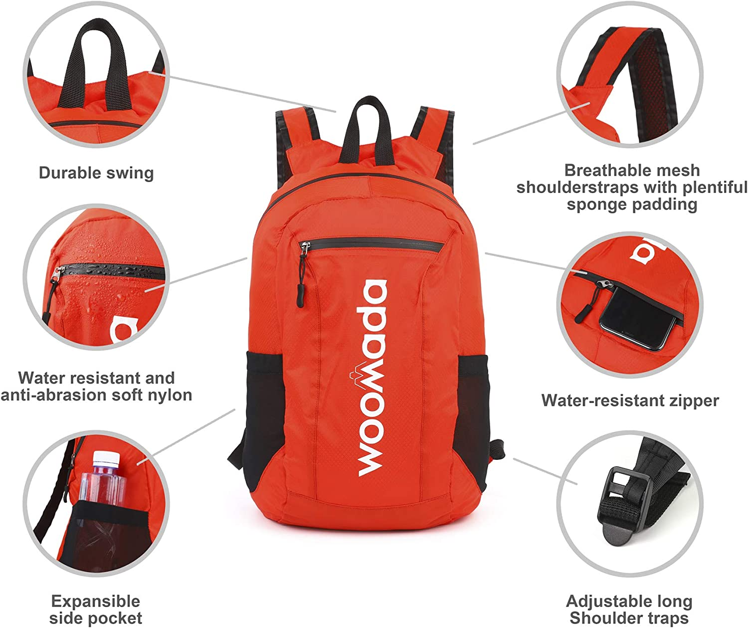 WOOMADA Hiking Daypack Water Resistant Lightweight Packable Backpack for Travel Camping Outdoor