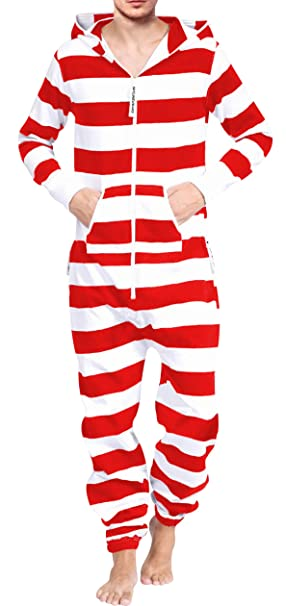... One Piece Non Footed Pajama Playsuit Blue-Gray S M L XL XXL. Adult  Onesue Under  30 Men s Fashion Onesie Printed Jumpsuit Stripes White RED  Wide S 45b49ec86