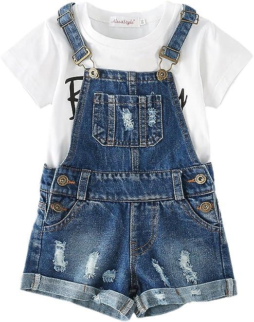 Baby Toddler Boy Girl Jeans Denim Shortall 2pcs Overall Summer Short Hat Set