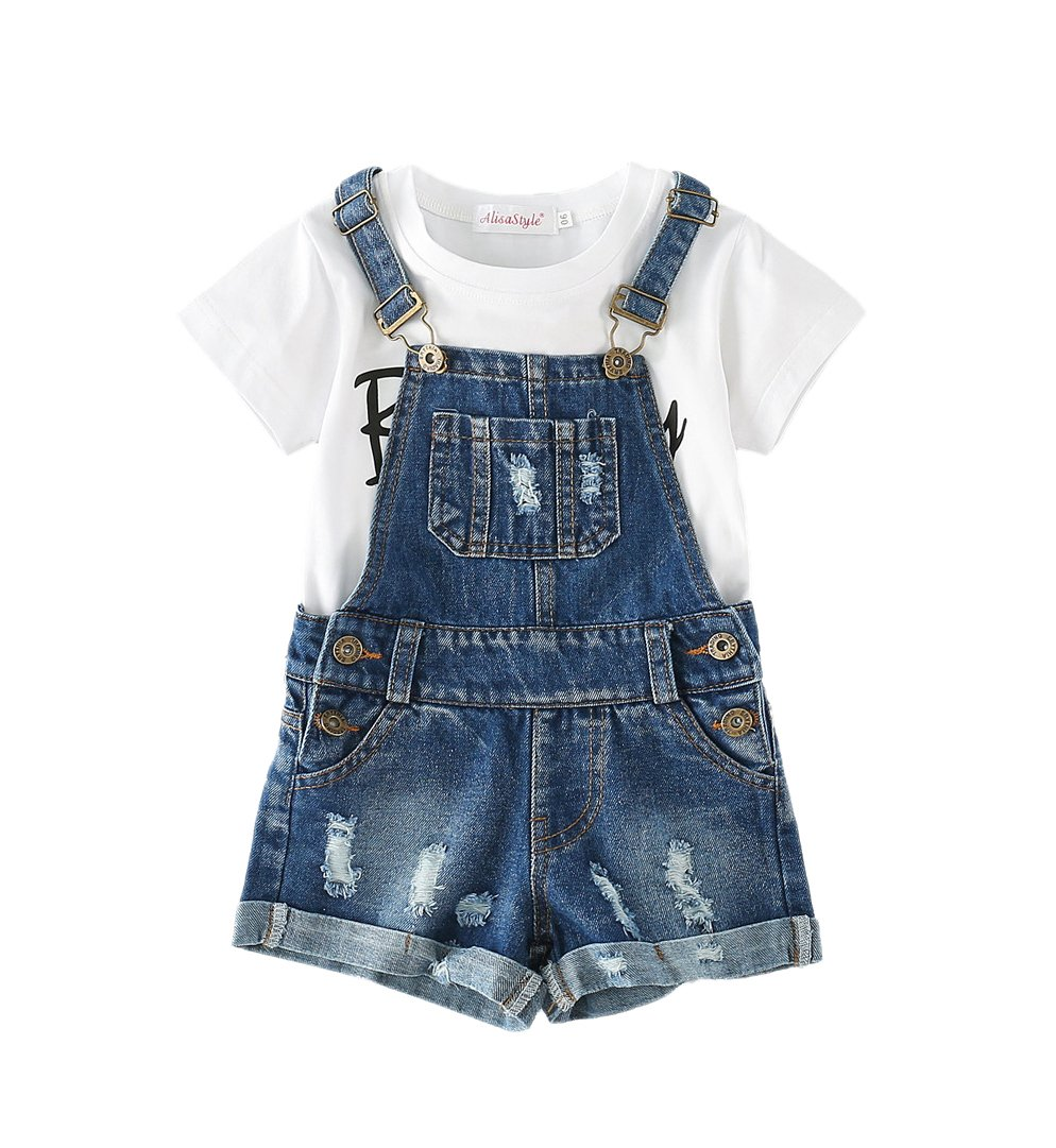 Chumhey Big&Little Girls 2Pc Big Bib Jeans Summer Shortalls Set T-Shirts,Blue,6-7 Years
