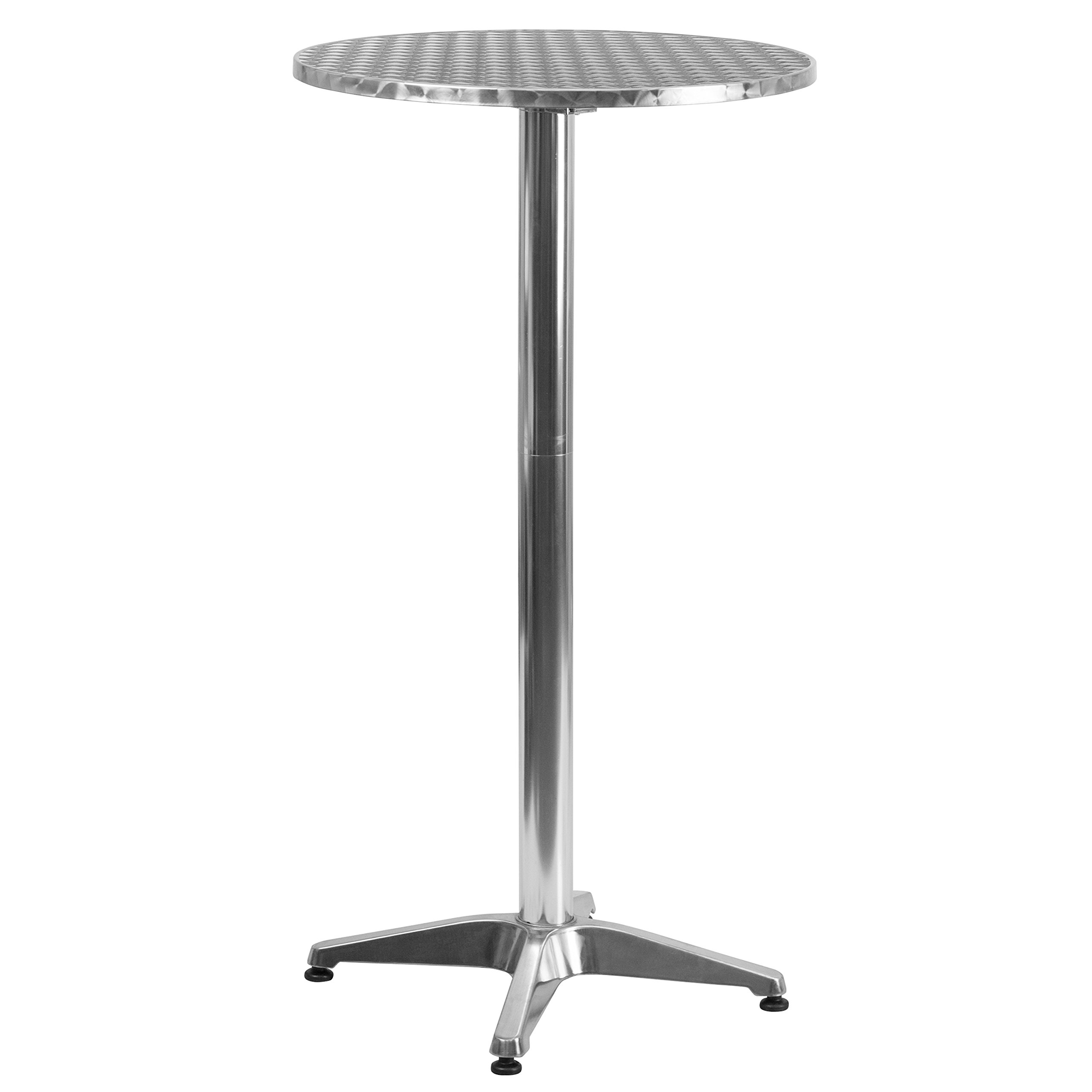 Flash Furniture 23.25'' Round Aluminum Indoor-Outdoor Folding Bar Height Table with Base by Flash Furniture