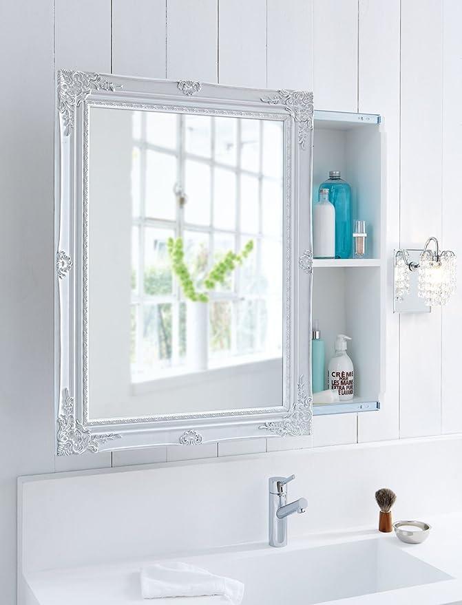 Amazon.de: Spiegelschrank mit Schiebetür MDF-Holz Weiß 80 x 60 x 17 cm