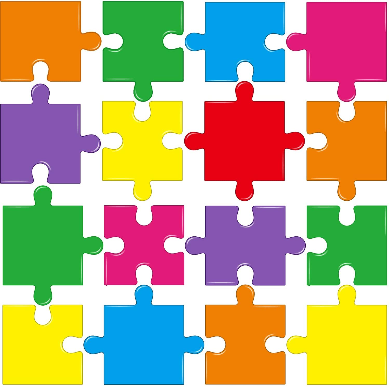 64 Pieces Puzzle Pieces Cutouts Puzzle Pieces Accents Paper for Classroom Decor Bulletin Board School Playroom Baby Nursery Kids Bedroom Art Studio