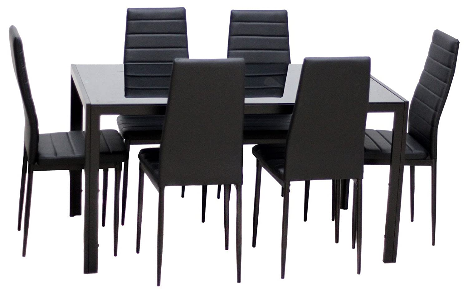 Amazon com ids home 7 piece glass dining table and chair set for 6 kitchen dining room furniture rust resistant metal leg frame black table chair sets