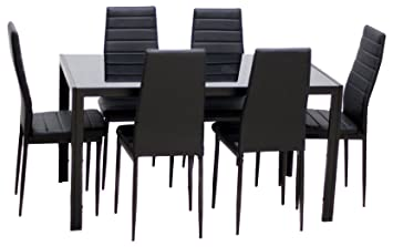 Amazon Com Ids Home 7 Piece Glass Dining Table And Chair Set For 6