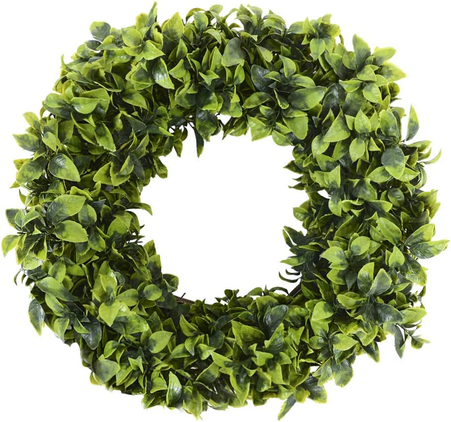 20 Inch Green Wreath Artificial Boxwood Wreath Farmhouse Decor, Door Wreaths for All Seasons Spring Summer Green Wreaths for Indoors Outdoors, Easter Decor on Front Door Wall Window Home