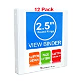 "3 Ring Binder, 2.5"" Round Rings, 12 Pack, Clear"