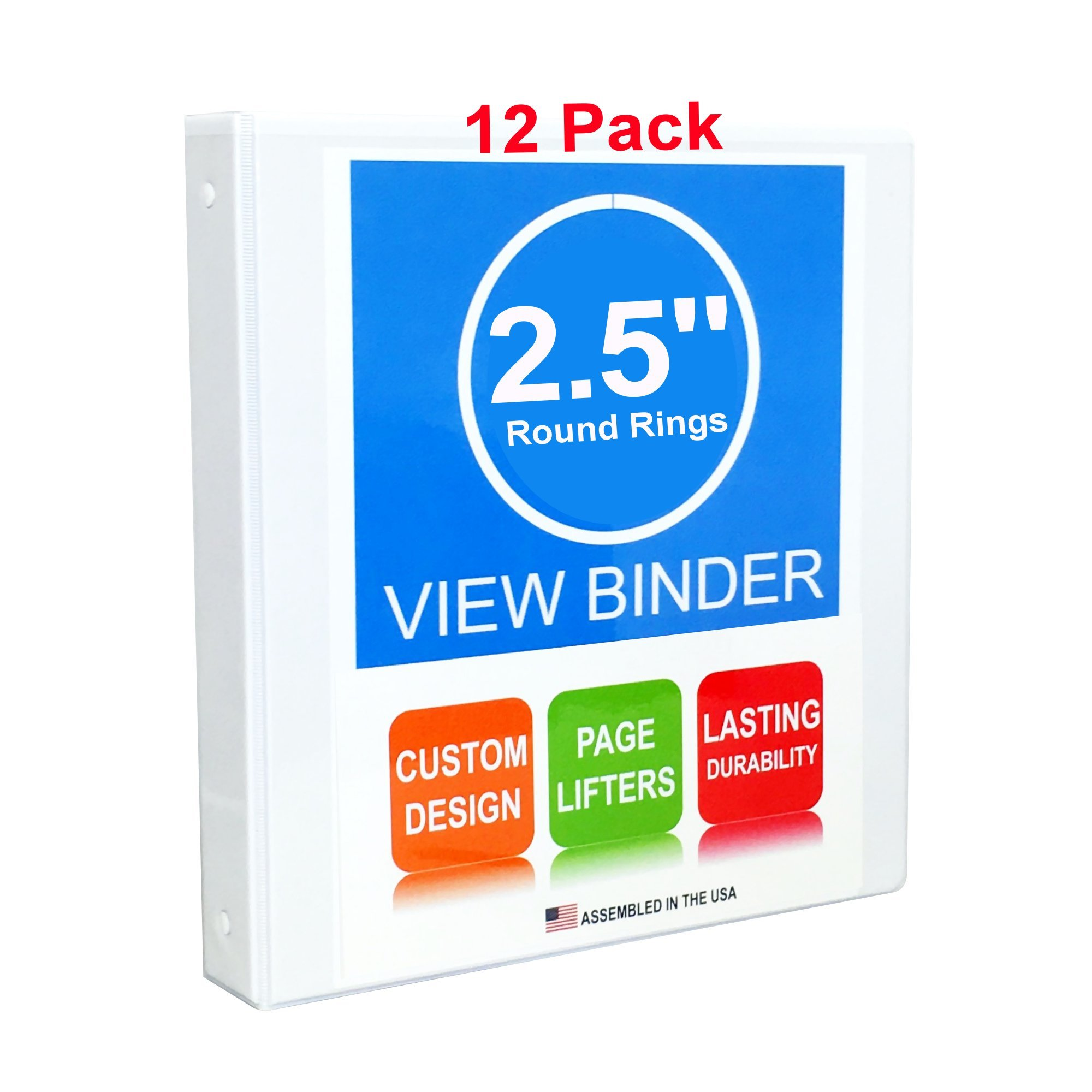 3 Ring Binder, 2.5'' Round Rings, 12 Pack, Clear View, White, Pockets, 3.2'' Spine