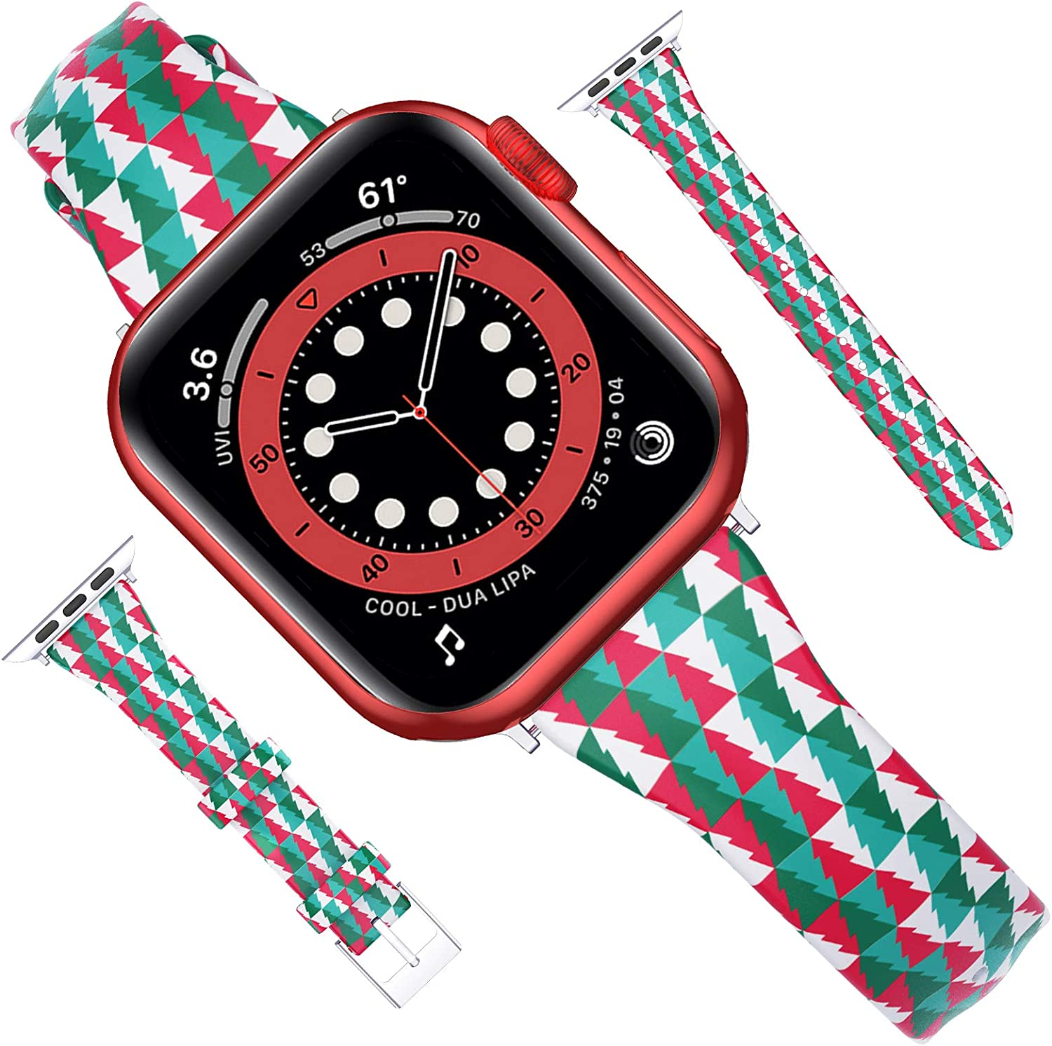 Goton Compatible for Apple Watch Band 38mm 40mm Leather, Women Girl Soft Slim Christmas Tree Genuine Leather Wristband Straps for iWatch SE Series 6 5 4 3 2 1 Band (Christmastree, 38mm/40mm)