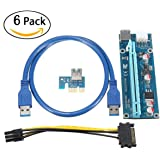 Supercope - PCI-E 006C 16x to 1x Powered Riser Adapter Card (6 Pack) w/ 60cm USB 3.0 Extension Cable & 6-Pin MOLEX to SATA Power Cable - GPU Riser Adapter - Ethereum Mining ETH