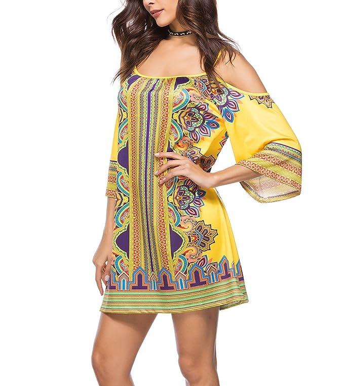 HaiDean Vestidos Playeros Mujer Cortos Verano Estampados