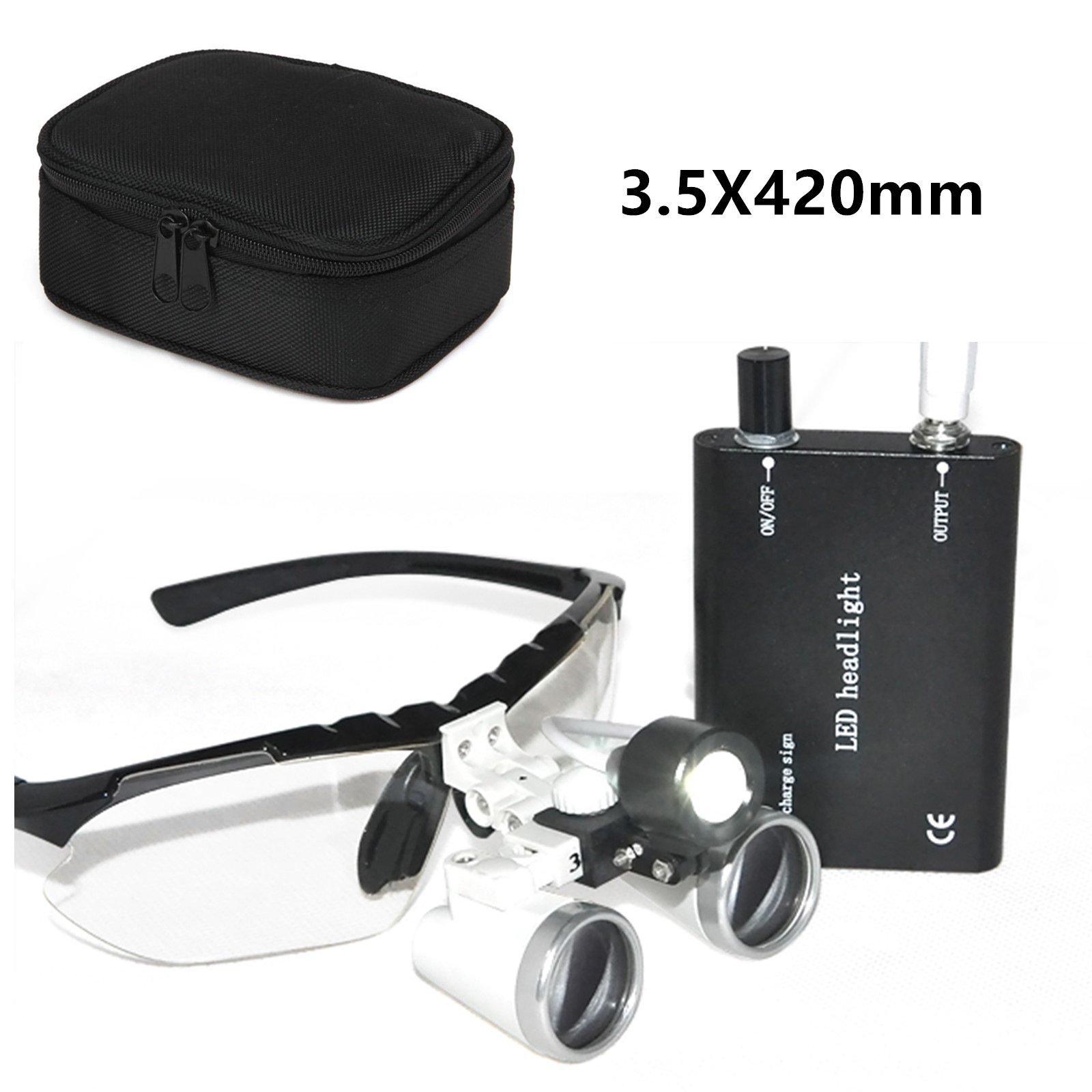 Denshine® Dental Surgical Medical Binocular Loupes Optical Glass Loupe 3.5x 420mm + Dental Head Light Lamp +Carry bag (Black)