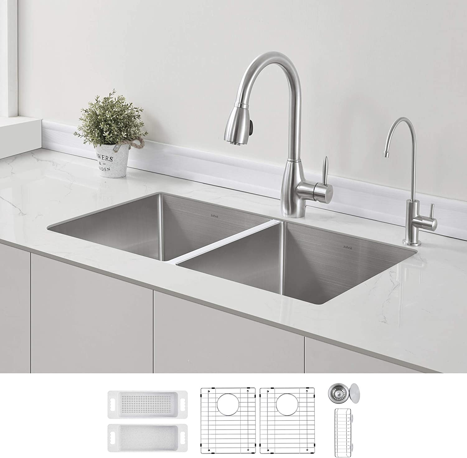 Zuhne 32 Inch Double Bowl Undermount Stainless Steel Deep Kitchen Sink 16 Gauge 50 50 Equal Amazon Com