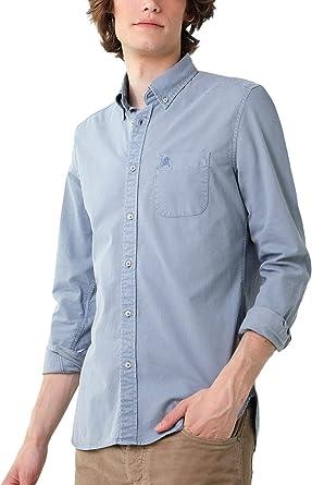 Scalpers Camisa Garment Dye Botones - Blue / 43: Amazon.es ...