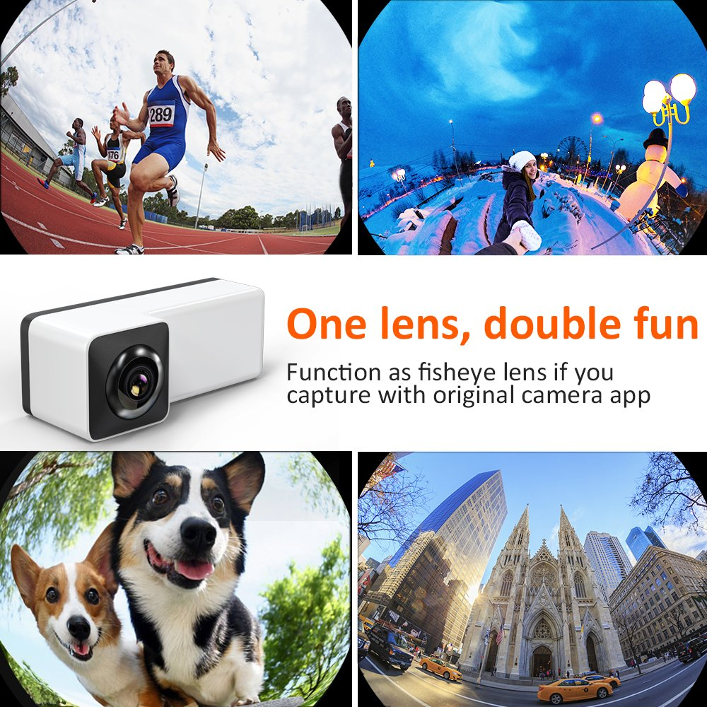 3D Panoramic Lens for iPhone X, Comsoon 360 Degree Phone Lens, Front/Rear 180 Degree Fisheye Lens Design, Make your iPhone a 360° Panoramic Camera, Take Cool Interesting Panoramic Photos (Black) by Comsoon (Image #5)