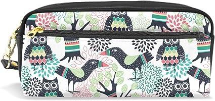 Ahomy - Estuche para lápices de dibujos animados con diseño de búho, doble cremallera, gran bolsa de maquillaje, cosméticos, artículos de papelería, bolsa de almacenamiento para niñas, niños y mujeres: Amazon.es: Oficina