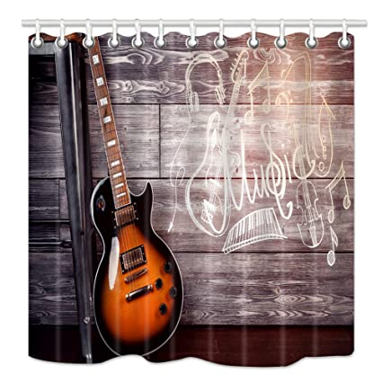 NYMB Music Theme Shower Curtain Set Electric Guitar In Wooden Home Interior Leaning On Chair