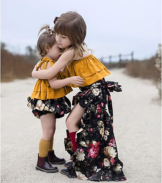 Fenleo Baby Girls Off-Shoulder Strap Top+Floral Bloomer Shorts//Dress Sisters Twins Clothes Set
