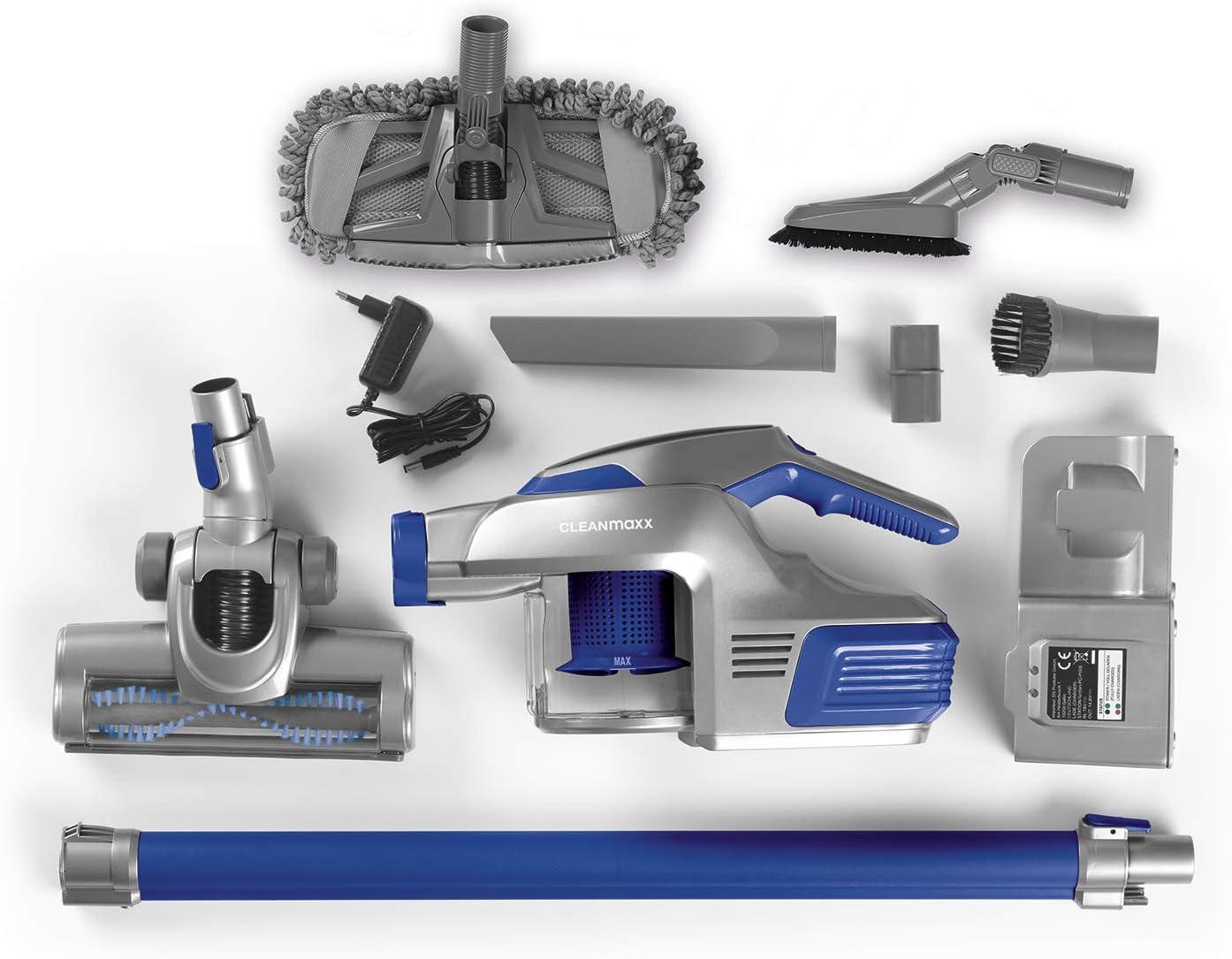 Cleanmaxx - Aspiradora de mano con batería de iones de litio de 4000 mAh, incluye soporte de pared, aprox. 30 min de funcionamiento con batería completa, incluye tubo de extensión, 150 W